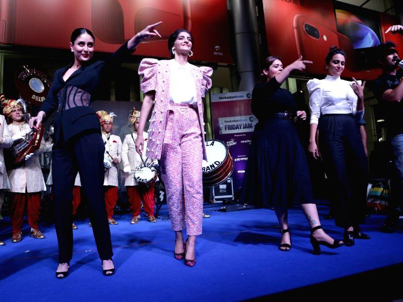 "Actresses Sanah Kapoor, Swara Bhaskar, Sonam Kapoor and Kareena Kapoor during a programme organised to promote their upcoming film ""Veere Di Wedding"" in Gurugram, on May 25, 2018. - Sanah Kapoor, Swara Bhaskar, Sonam Kapoor and Kareena Kapoor"