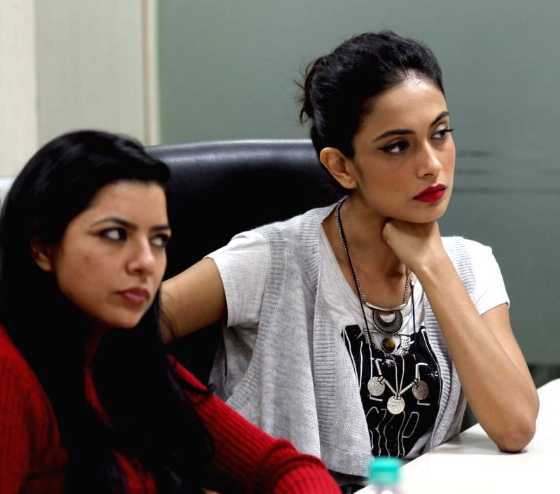 Actresses Sarah-Jane Dias and Rajshri Deshpande during their visit to IANS office in New Delhi on Dec 2, 2015. - Sarah-Jane Dias and Rajshri Deshpande