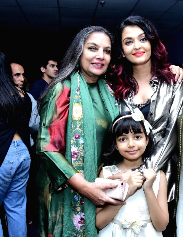 "Actresses Shabana Azmi and Aishwarya Rai Bachchan along with her daughter Aaradhya Bachchan at the special screening of film ""Fanney Khan"" in Mumbai on Aug 2, 2018. - Shabana Azmi, Aishwarya Rai Bachchan, Aaradhya Bachchan and Fanney Khan"