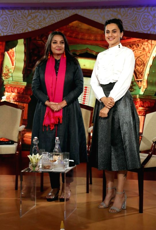 "Actresses Shabana Azmi and Taapsee Pannu at IBN 7's ""Chaupal"" in New Delhi, on Aug 7, 2018. - Shabana Azmi and Taapsee Pannu"