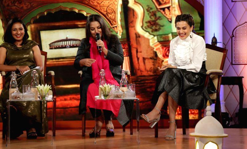 "Actresses Shabana Azmi and Taapsee Pannu at IBN 7's ""Chaupal"" in New Delhi, on Aug 7, 2018. - Shabana Azmi and Taapsee Pannu"