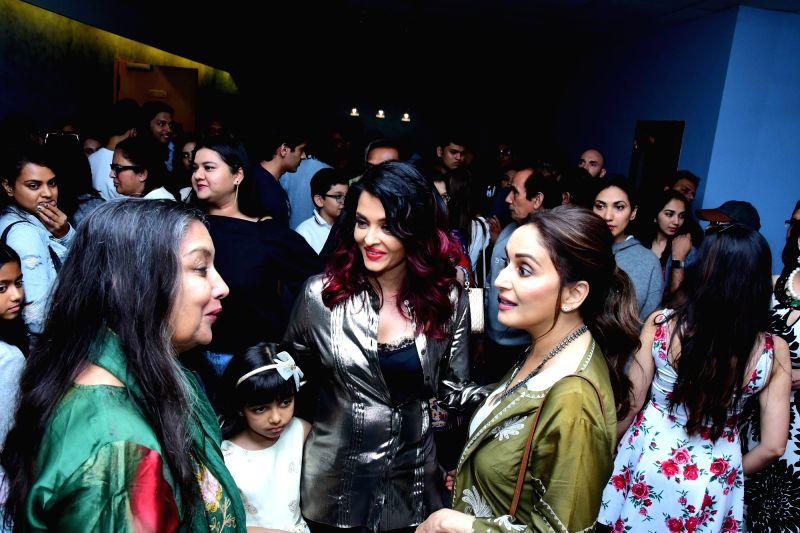 "Actresses Shabana Azmi, Madhuri Dixit Nene and Aishwarya Rai Bachchan along with her daughter Aaradhya Bachchan at the special screening of film ""Fanney Khan"" in Mumbai on Aug 2, ... - Shabana Azmi, Madhuri Dixit Nene, Aishwarya Rai Bachchan, Aaradhya Bachchan and Fanney Khan"