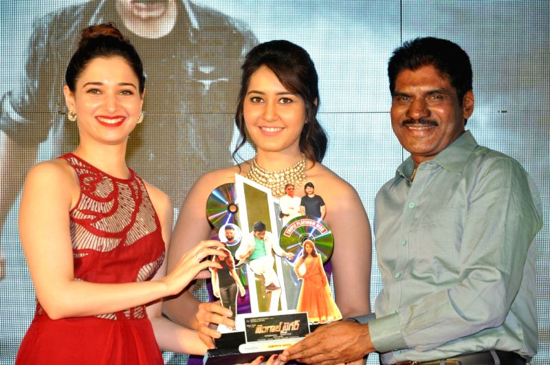 Actresses Tamanna, Rashi Khanna during the Bengal Tiger Movie Triple Platinum disc function held at Taj Deccan Hotel in Hyderabad on Nov 30, 2015 - Tamanna and Rashi Khanna