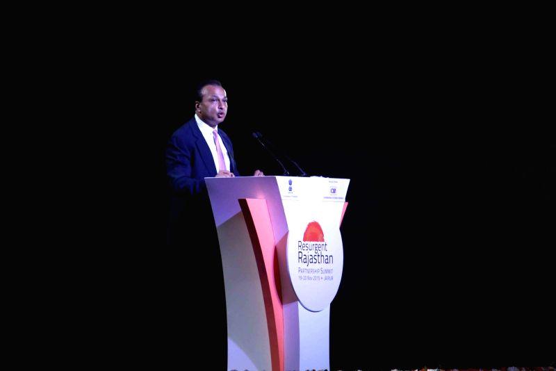 ADAG chairman Anil Ambani addresses at Resurgent Rajasthan Partnership Summit - 2015 in Jaipur, on Nov 19, 2015. - Ambani