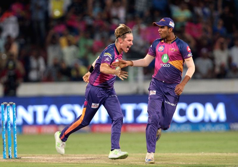 Adam Zampa of Rising Pune Supergiant celebrates fall of Kieron Pollard during the final match of IPL 2017 between Mumbai Indians and Rising Pune Supergiant at Rajiv Gandhi International ...
