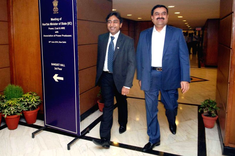 Adani Group Chairman Gautam Adani after meeting Union Minister of State with Independent Charge for Power, Coal and New and Renewable Energy Piyush Goyal in New Delhi on June 20, 2014.