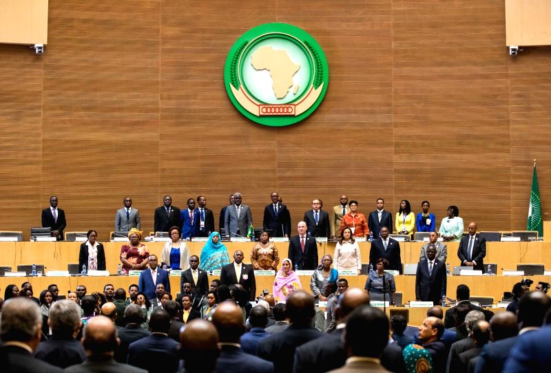ADDIS ABABA, Jan. 29, 2018 - Participants stand up while the African Union's anthem is being played during the closing ceremony of the 30th AU summit in Addis Ababa, capital of Ethiopia, Jan 29, ...