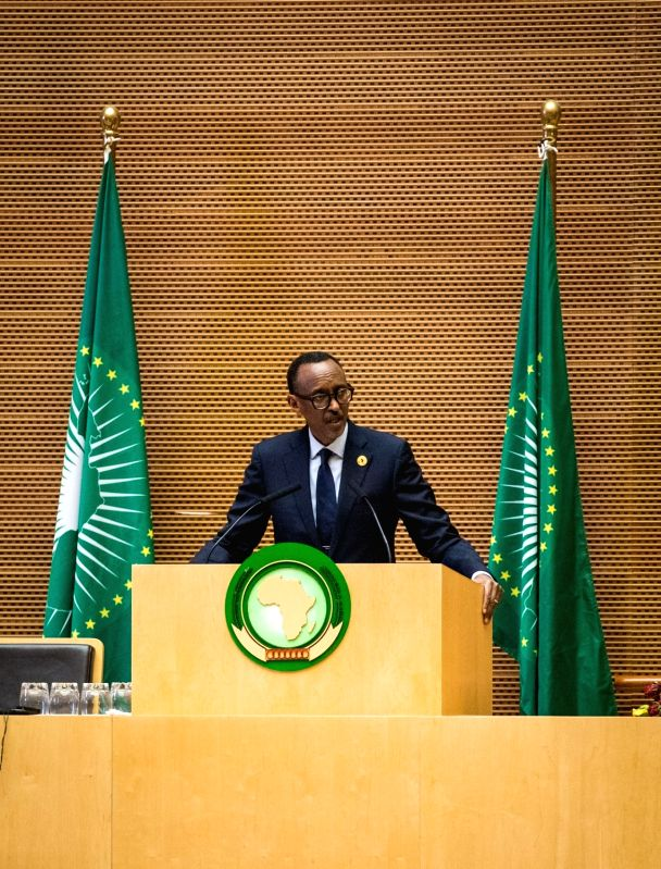 ADDIS ABABA, Jan. 29, 2018 - Paul Kagame, Rwandan President and current Chairman of the African Union (AU), speaks during the closing ceremony of the 30th AU summit in Addis Ababa, capital of ...