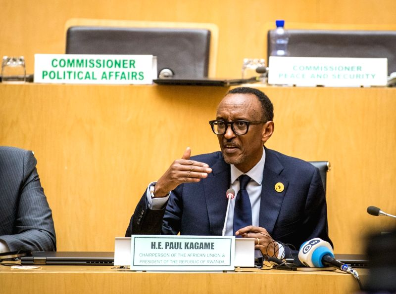 ADDIS ABABA, Jan. 29, 2018 - Paul Kagame, Rwandan President and current Chairman of the African Union (AU), speaks during a press conference after the closing ceremony of the 30th AU summit in Addis ...