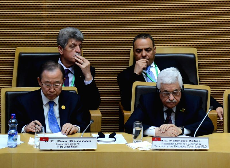 UN Secretary General Ban Ki-Moon (L, front) and Palestinian President Mahmoud Abbas (R, front) attend the 24th African Union (AU) Summit at the AU headquarters .