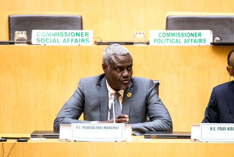 ADDIS ABABA, Jan. 30, 2018 - African Union (AU) Commission Chair Moussa Faki speaks during the press conference after the closing ceremony of the 30th AU Summit at the AU headquarters in Addis Ababa, ... - Hailemariam Desalegn