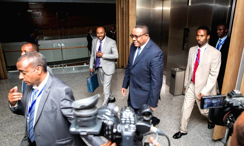 ADDIS ABABA, Jan. 30, 2018 - Photo taken on Jan. 29, 2018 shows Ethiopian Prime Minister Hailemariam Desalegn (3rd, R) at the African Union (AU) headquarters in Addis Ababa, capital of Ethiopia. ... - Hailemariam Desalegn