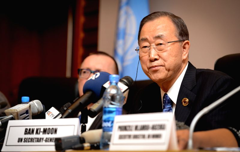 United Nations (UN) Secretary-General Ban Ki-moon attends a briefing at the African Union (AU) headquarters in Addis Ababa, capital of Ethiopia, on Jan. 31, ...