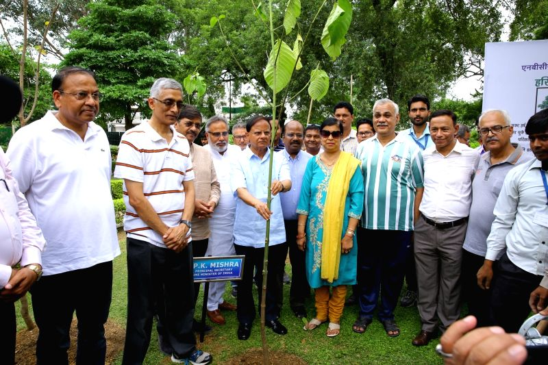 Additional Principal Secretary to Prime Minister Office Dr. P. K. Mishra and others participate in Harit Mahotsav - Tree plantation - at NBCC New Moti Bagh GPRA colony in New Delhi on Aug ... - Office D and P. K. Mishra