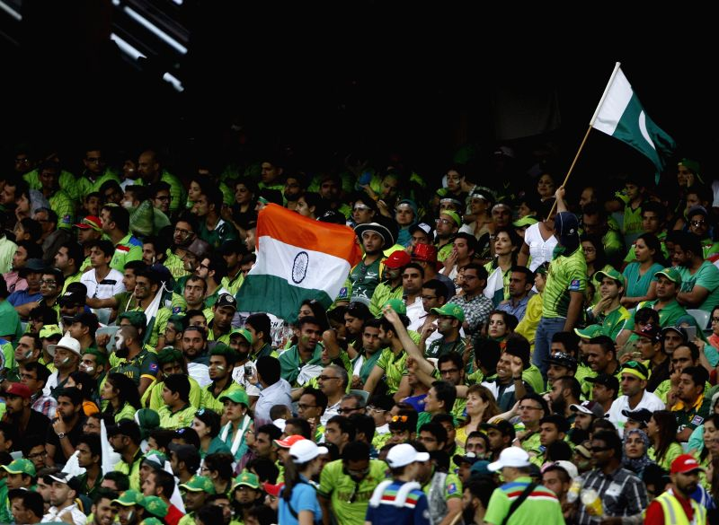 Adelaide : Fans cheer for their respective teams during an ICC World Cup 2015 match between India and Pakistan at Adelaide Oval in Adelaide, Australia on Feb 15, 2015.