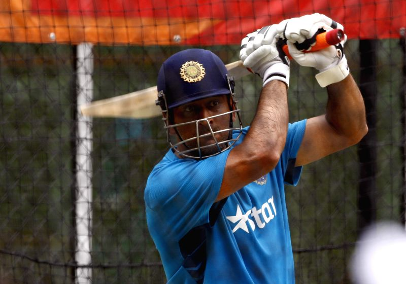 Indian captain M S Dhoni during an ICC World Cup - 2015 practice session at Adelaide Oval in Adelaide,  Australia on Feb 14, 2015. - M S Dhoni