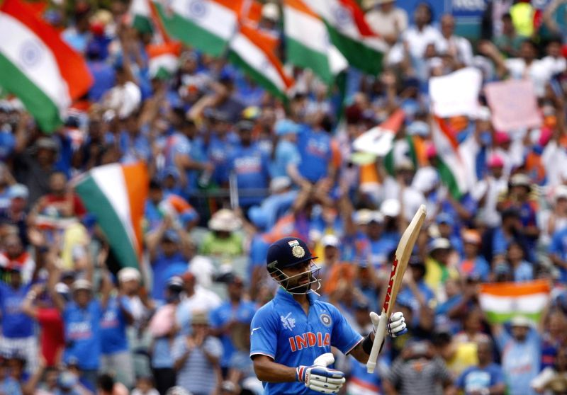 Indian cricketer Virat Kohli celebrates as his century during an ICC World Cup 2015 match between India and Pakistan at Adelaide Oval in Adelaide, Australia on Feb 15, 2015. - Virat Kohli
