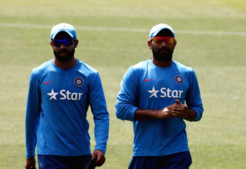 Indian cricketers Ravindra Jadeja and Mohammed Shami during an ICC World Cup practice session at Adelaide Oval in Adelaide,  Australia on Feb 14, 2015. - Ravindra Jadeja
