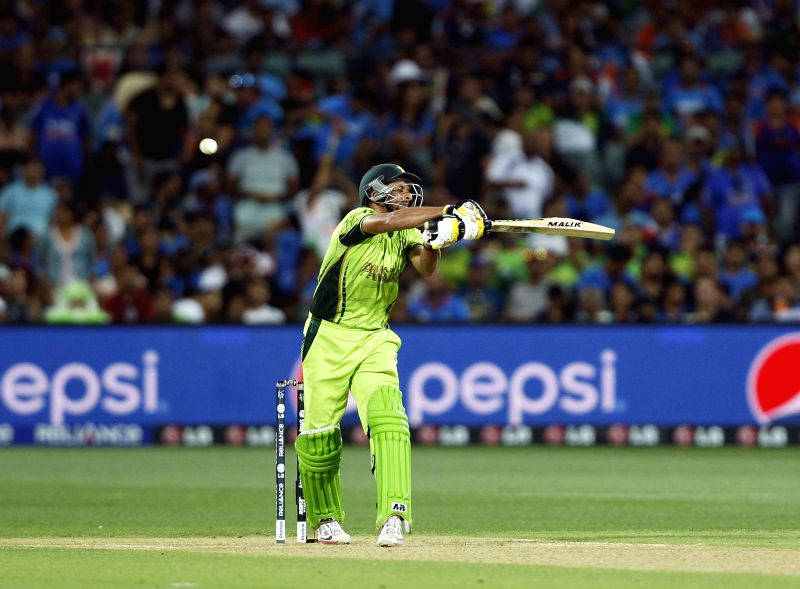 Pakistani batsman Shahid Afridi in action during an ICC World Cup 2015 match between India and Pakistan at Adelaide Oval in Adelaide, Australia on Feb 15, 2015. - Shahid Afridi