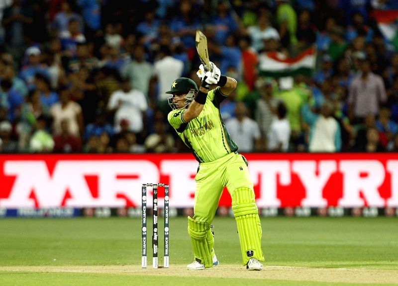 Pakistani captain Misbah-ul-Haq in action during an ICC World Cup 2015 match between India and Pakistan at Adelaide Oval in Adelaide, Australia on Feb 15, 2015. - Misbah