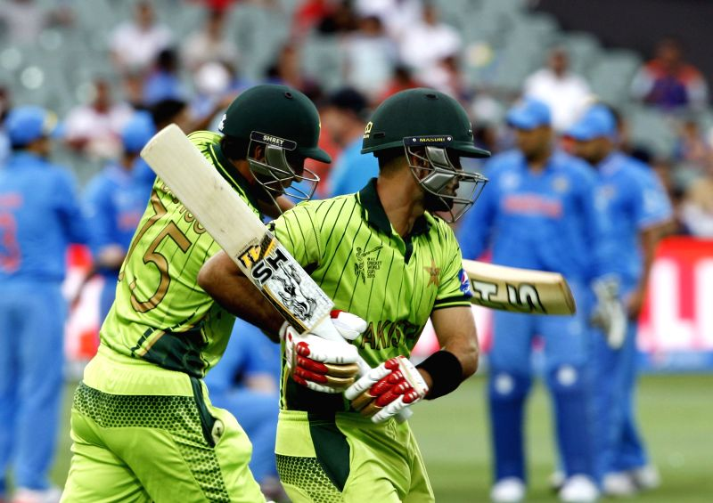 Adelaide : Pakistani player Ahmad Shahzad in action during an ICC World Cup 2015 match between India and Pakistan at Adelaide Oval in Adelaide, Australia on Feb 15, 2015.