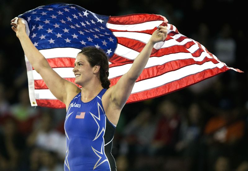 Adeline Gray of the United States celebrates after the women's freestyle 75kg final of wrestling event against Justina Distasio of Canada at the 17th Pan American ...