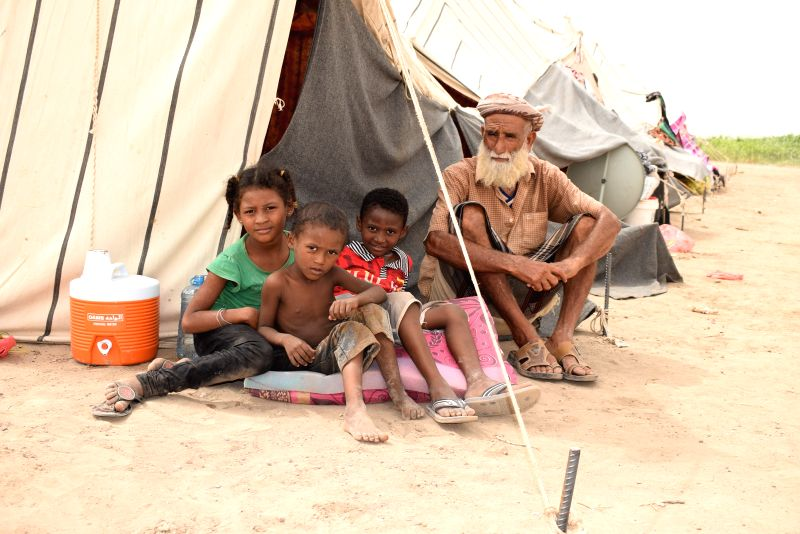 ADEN, July 12, 2018 - A Yemeni displaced family is seen in the southern port city Aden, Yemen, on July 12, 2018. Thousands of Yemeni Internally Displaced Persons (IDP) who survived the ongoing armed ...