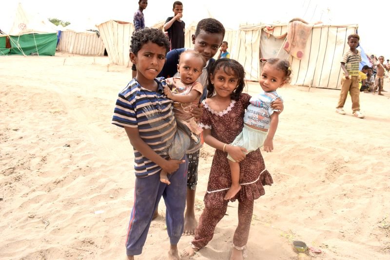 ADEN, July 12, 2018 - Yemeni displaced children are seen in the southern port city Aden, Yemen, on July 12, 2018. Thousands of Yemeni Internally Displaced Persons (IDP) who survived the ongoing armed ...