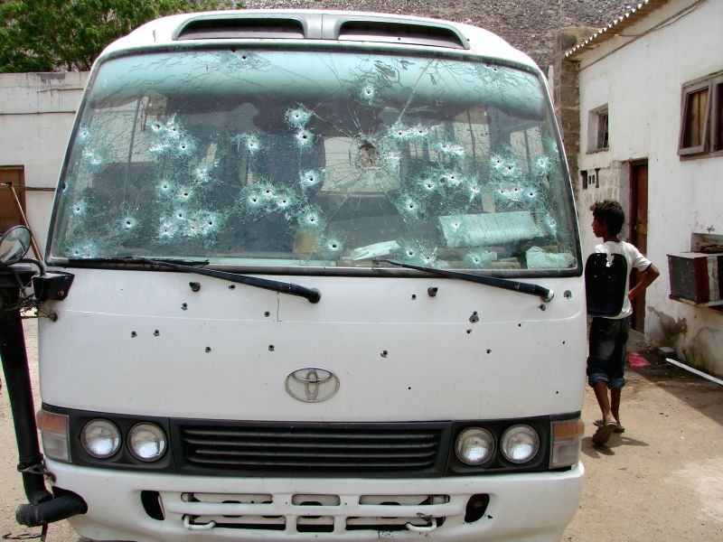 This is the bus that was attacked by gunmen in Aden on June 15, 2014. A total of nine people were killed, and ten others were wounded when a group of unidentified ...