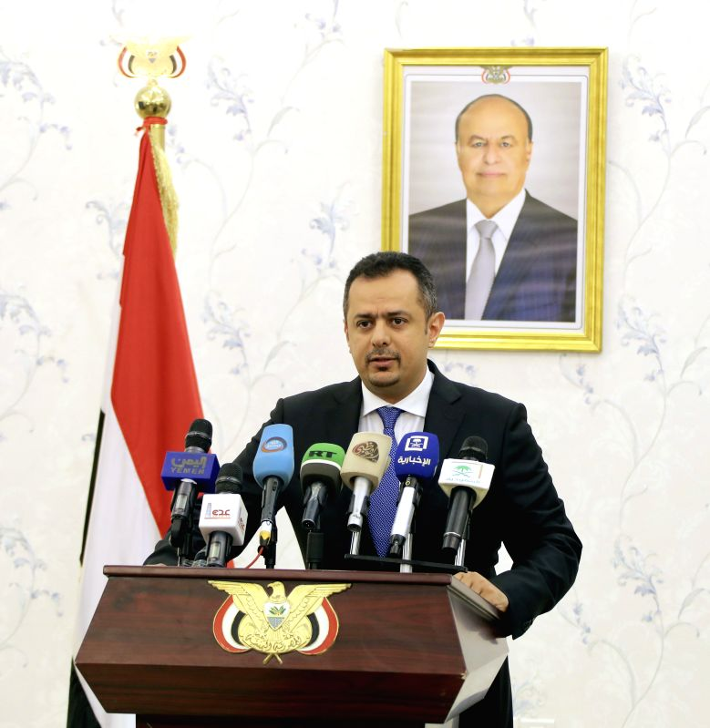 ADEN (YEMEN), June 20, 2019 (Xinhua) -- Yemen's Prime Minister Maeen Abdulmalik speaks during a joint press conference in Aden, Yemen, on June 20, 2019. A team of senior diplomatic officials headed by the United States ambassador to Yemen arrived in