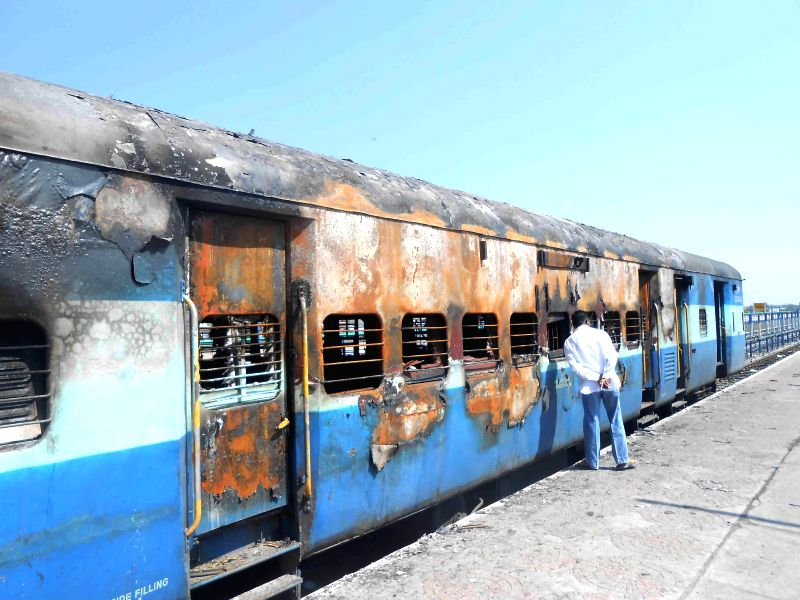 The bogey of Parli (Maharashtra) to Adilabad Passenger train that were gutted in fire at Adilabad, Telangana on March 5, 2015. No one was injured.