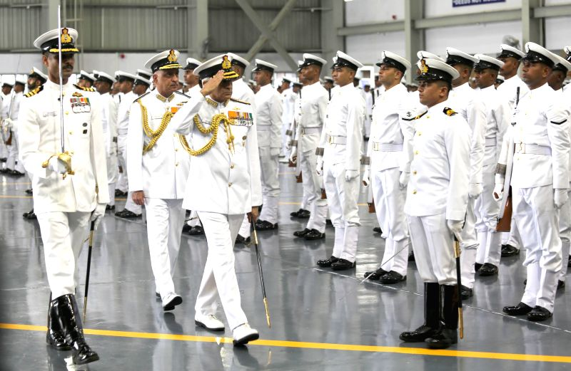 Admiral Sunil Lanba inspecting the parade.