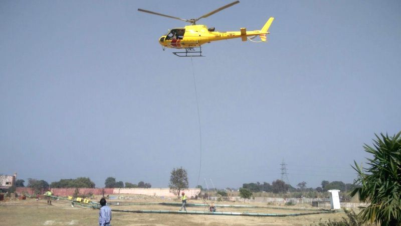 Aerial searches being conducted by a team of scientists from National Geophysical Research Institute (NGRI) using a device taken on lease from Denmark to trace underneath paleochannel of ...