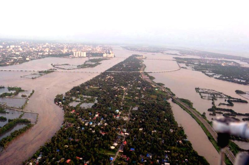 Aerial view of the flooded Aluva, Kerala, on Aug 10, 2018.