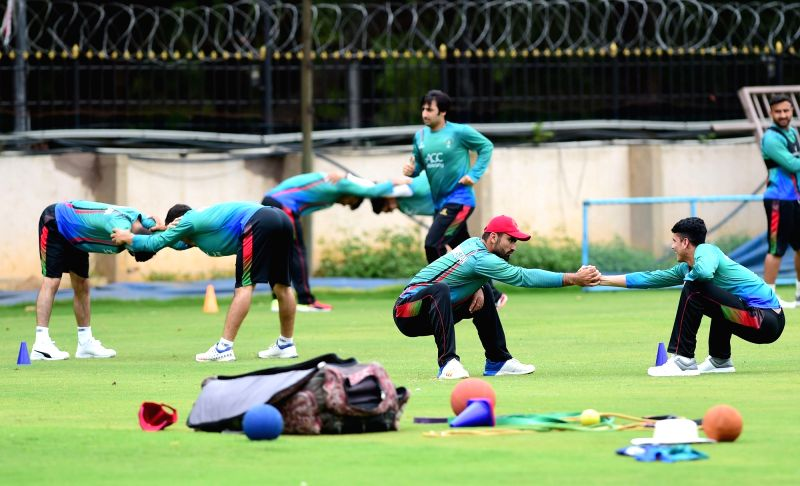 Afghan players during a practice session ahead of their maiden cricket test match against India in Bengaluru on June 11, 2018.