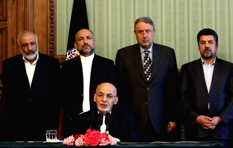 Afghan President Mohammad Ashraf Ghani (front) speaks during a press conference in Kabul, Afghanistan, Aug. 10, 2015. Mohammad Ashraf Ghani said Monday in a strong ...