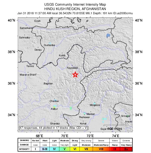 :Afghanistan: A map released by USGS pointing the epicenter of the earthquake at Hindu Kush region in Afghanistan on Jan. 31, 2018..