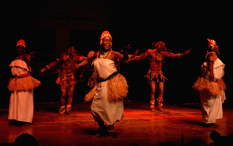 African artists perform during a programme organised on Africa Day in Bhopal on May 29, 2017.