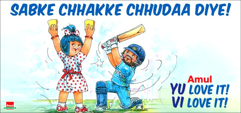 After Yuvraj Singh bid adieu to his career, fans from all around the world showered love and support on the former star cricketer. (Photo: Twitter/@Amul_Coop)