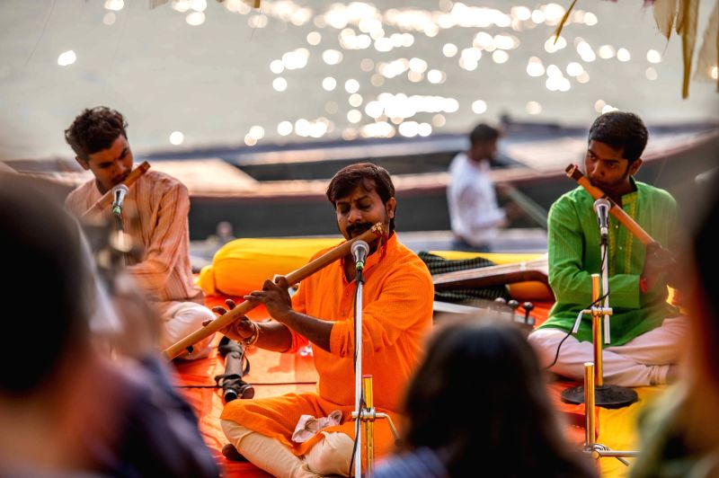 Against the serene backdrop of the sacred river Ganga, Atul Shankar performing renditions of some of morning ragas in the Benaras Gharana style at the Mahindra Kabira Festival in Varanasi. ...