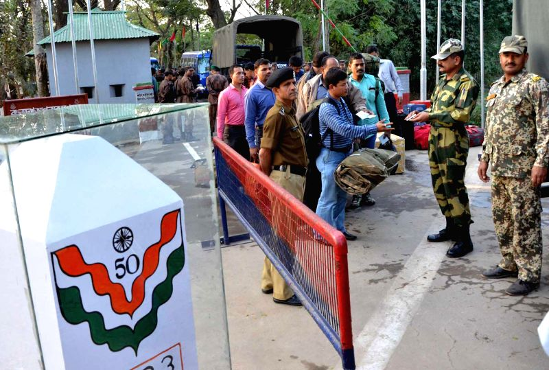 A 15 member Border Security Force (BSF)  team returns back to India via Akhaura land port in Agartala after completion of a week-long joint operation in Chittagong, Bangladesh with Border ..