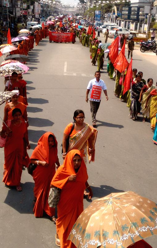 CPI(M) workers stage a demonstration against the central government in Agartala, on March 14, 2015.