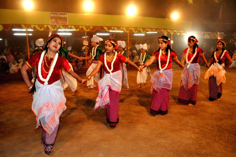 Manipuri girls perform traditional dance during Lai-Haroba festival in Agartala on Jan 11, 2015.
