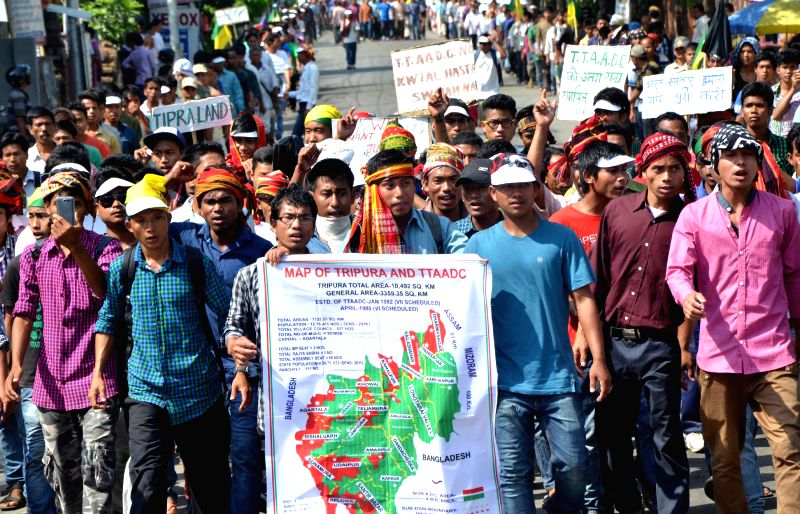 Supporters of Indigenous People`s Front of Twipra (IPFT) during a rally demanding for separate tribal land `Twipra Land` in Agartala, on April 11, 2015.