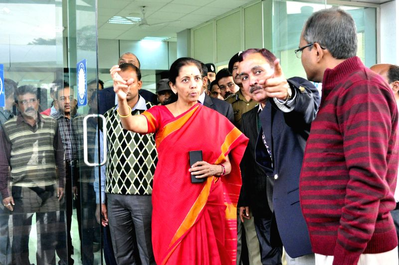 The Union Minister of State for Commerce and Industry (Independent Charge) Nirmala Sitharaman visits Agartala integrated check post (ICP) on Jan 13, 2015.