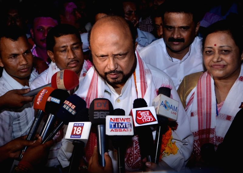 AGP leader Prafulla Kumar Mahanta talks to press regarding party's performance in the recently concluded 2016 Assam Assembly Polls in Nagaon, on May 19, 2016. - Prafulla Kumar Mahanta