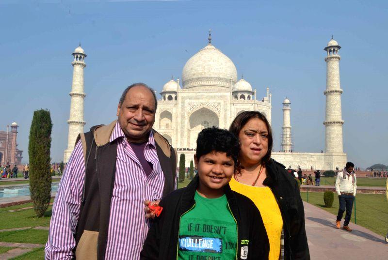 Actor Sudhir Pandey during his visit to Taj Mahal in Agra, on Dec 27, 2014.