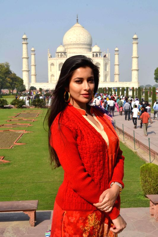 Actress Madhuurima Banerjee visits Taj Mahal in Agra on Nov. 20,  2014.