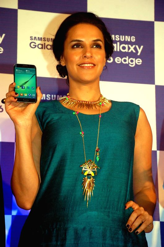 Actress Neha Dhupia launches Samsung Galaxy S6 in Agra, on April 10, 2015.