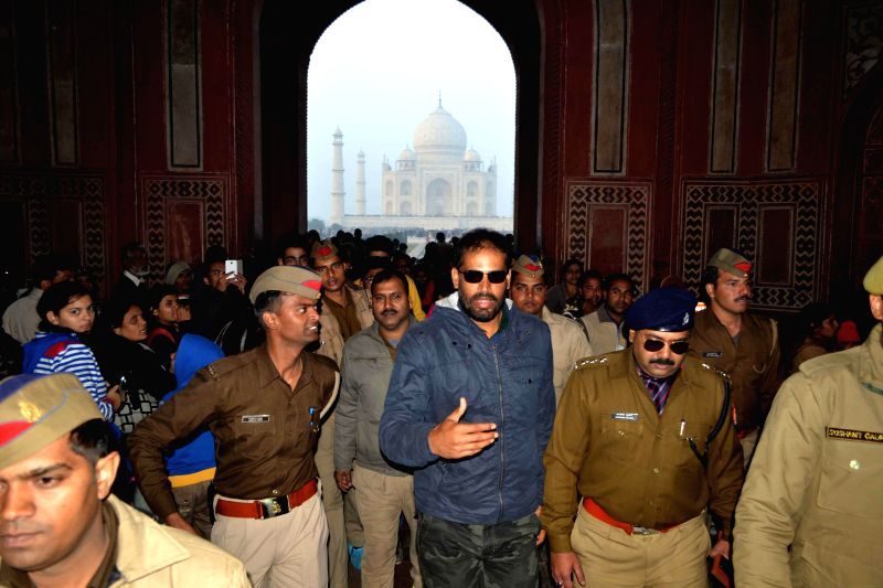 Cricketer Yusuf Pathan during his visit to Taj Mahal in Agra, on Dec 25, 2014.